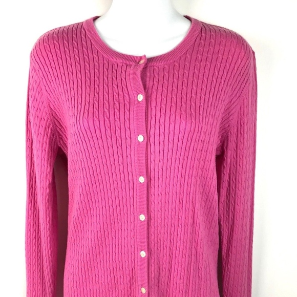 Lilly Pulitzer Sweaters - LILLY PULITZER Pink Cable Knit Cardigan Medium 4e27b7474